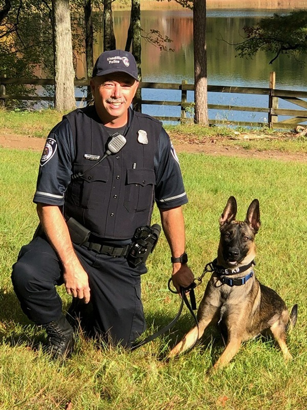 William Carr with his German shepherd